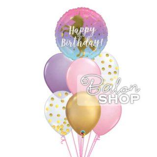 Zlatni jednorog rođendanski baloni u buketu
