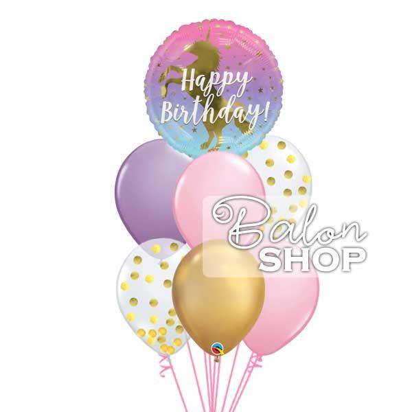 zlatno jednorog buket balona
