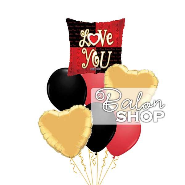 crveno zlatni buket balona