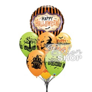 Halloween zeleno narandžasti buket balona