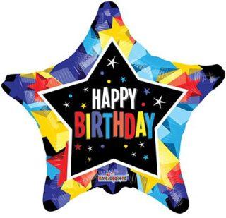 Folija balon Happy Birthday Star