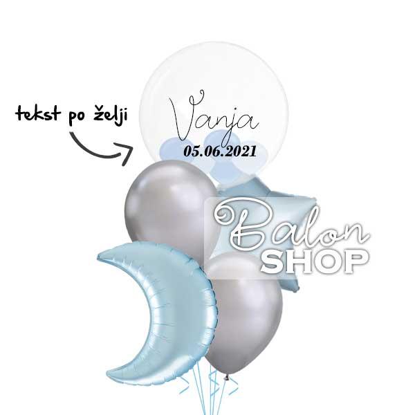 mesec zvezdice baloni za rodjenje bebe